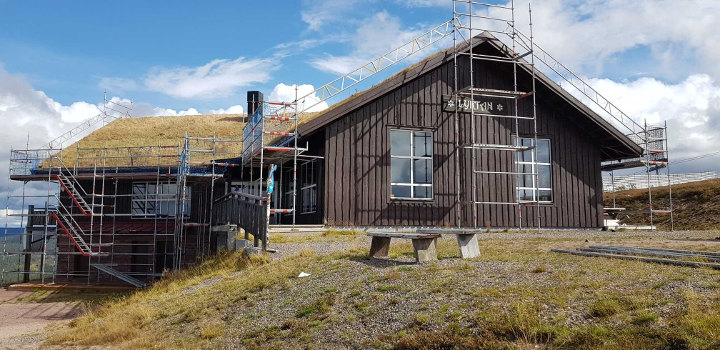 Byggställning Toppstugan Hundfjället Dalarna
